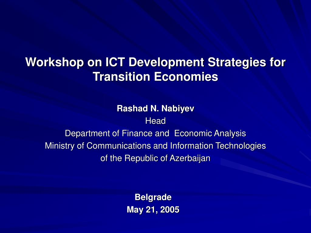 Workshop on ICT Development Strategies for Transition Economies