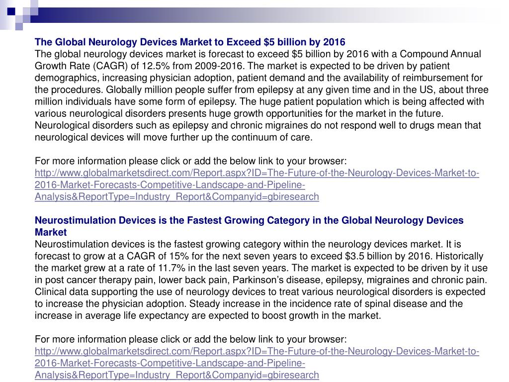 The Global Neurology Devices Market to Exceed $5 billion by 2016