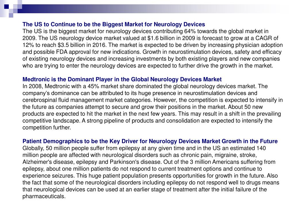 The US to Continue to be the Biggest Market for Neurology Devices