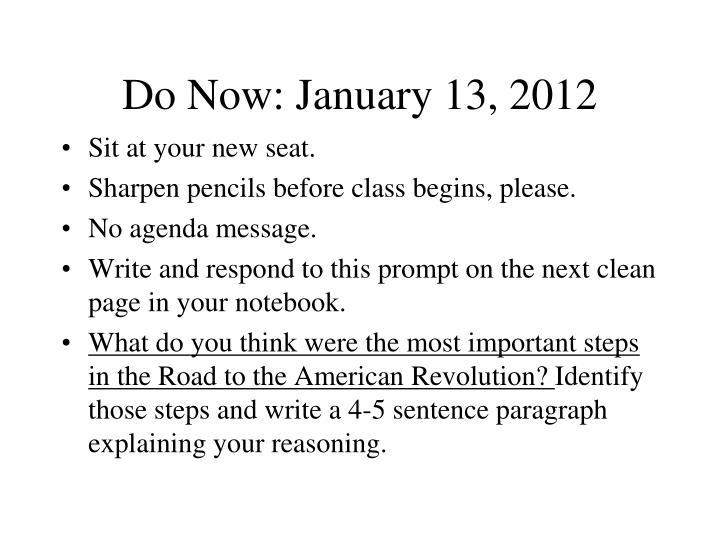 Do Now: January 13, 2012