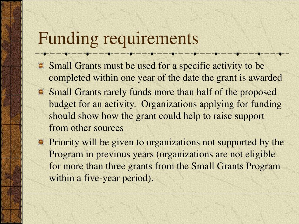 Funding requirements