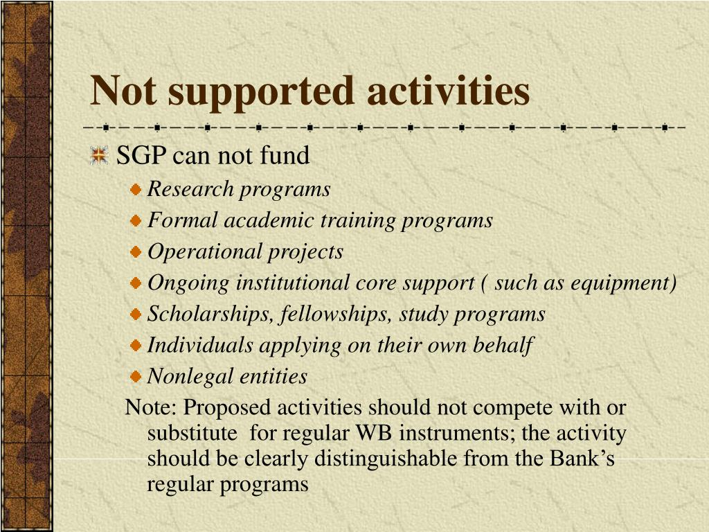 Not supported activities
