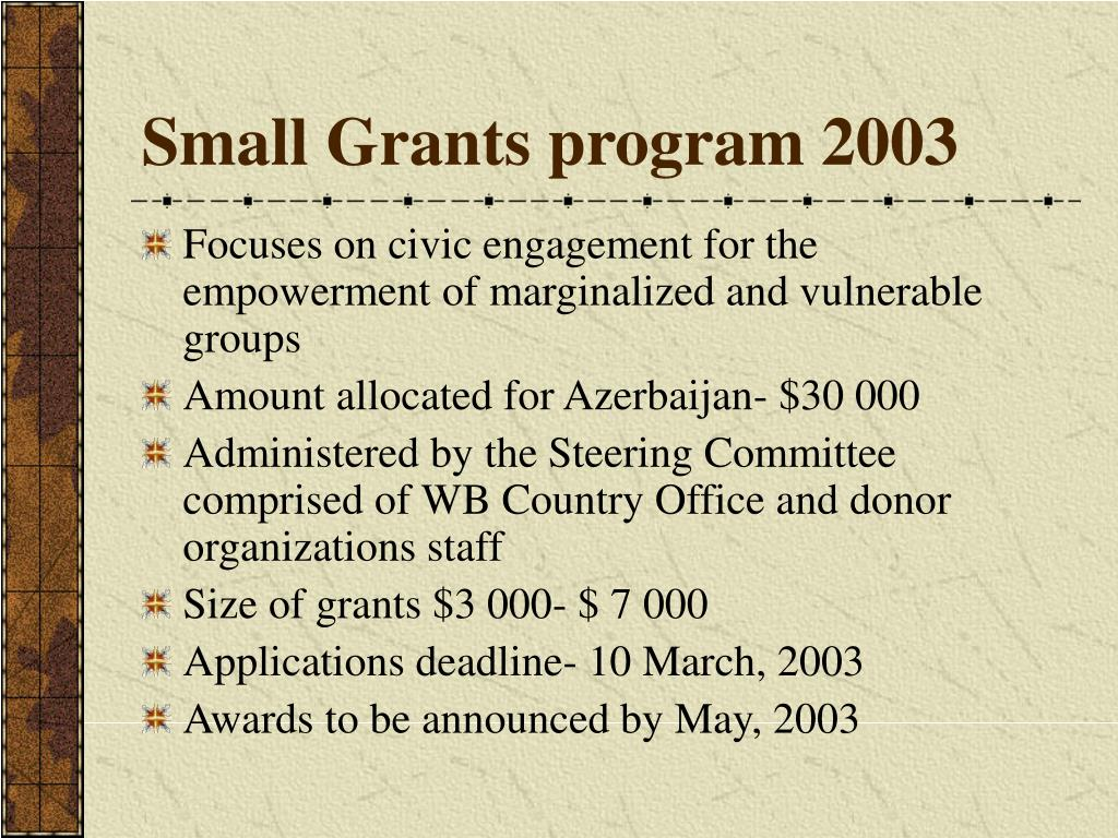 Small Grants program 2003