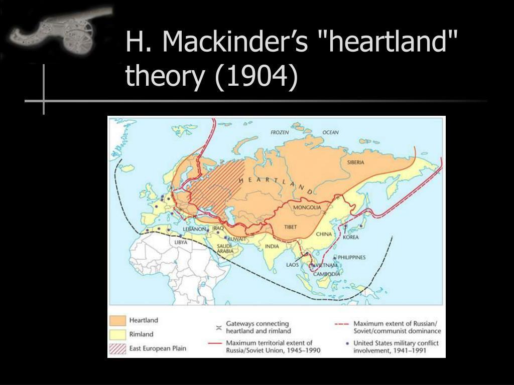 """H. Mackinder's """"heartland"""" theory (1904)"""