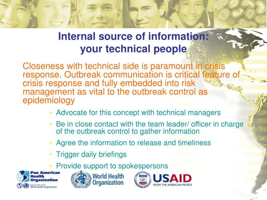 Internal source of information: