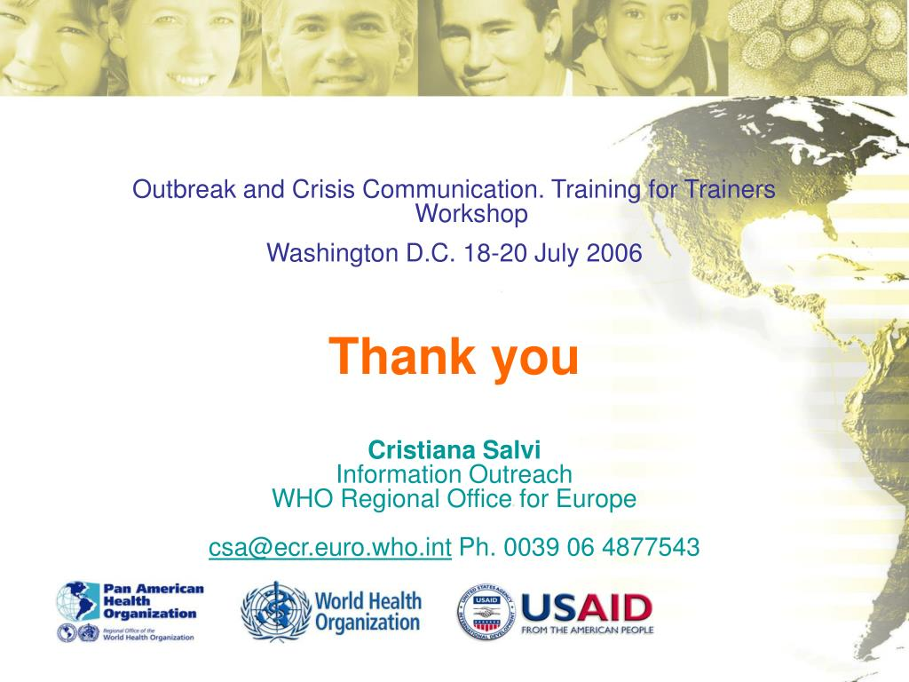 Outbreak and Crisis Communication. Training for Trainers Workshop