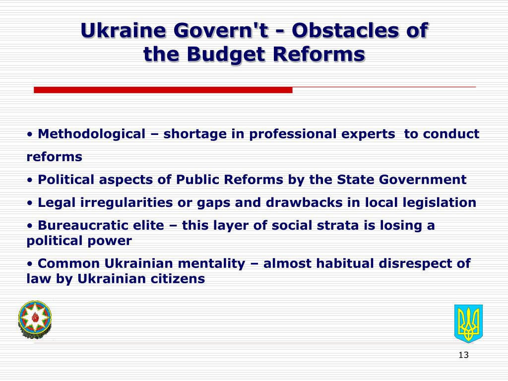 Ukraine Govern't - Obstacles of
