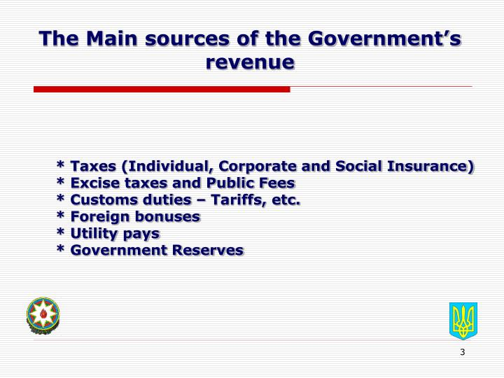 The main sources of the government s revenue