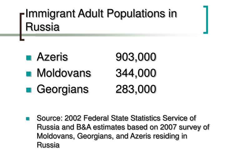 Immigrant adult populations in russia