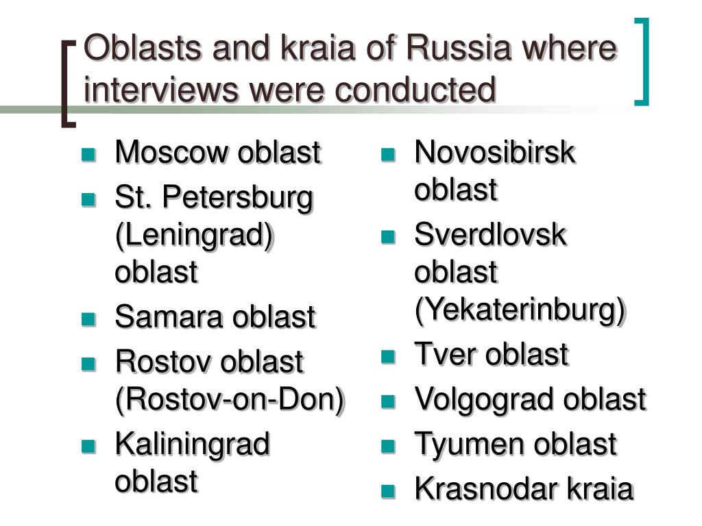 Oblasts and kraia of Russia where interviews were conducted