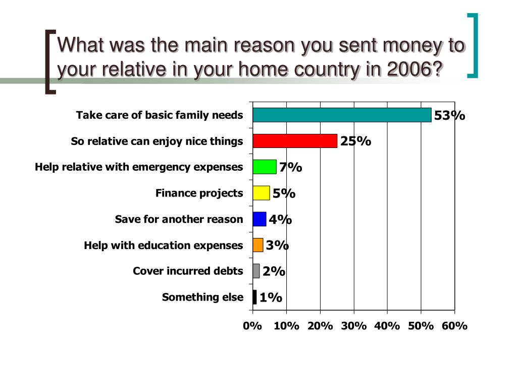What was the main reason you sent money to your relative in your home country in 2006?