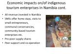economic impacts on of indigenous tourism enterprises in namibia cont