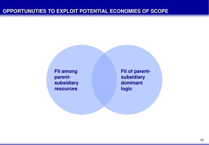 OPPORTUNUTIES TO EXPLOIT POTENTIAL ECONOMIES OF SCOPE