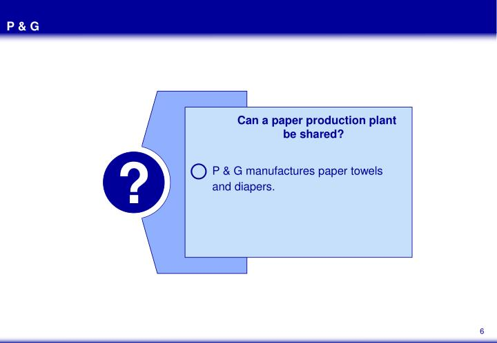 P & G manufactures paper towels