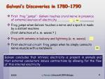 galvani s discoveries in 1780 1790