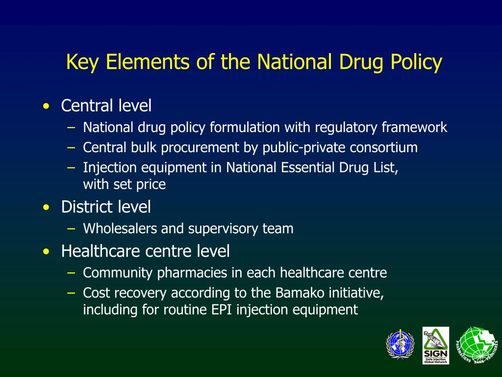 Key Elements of the National Drug Policy