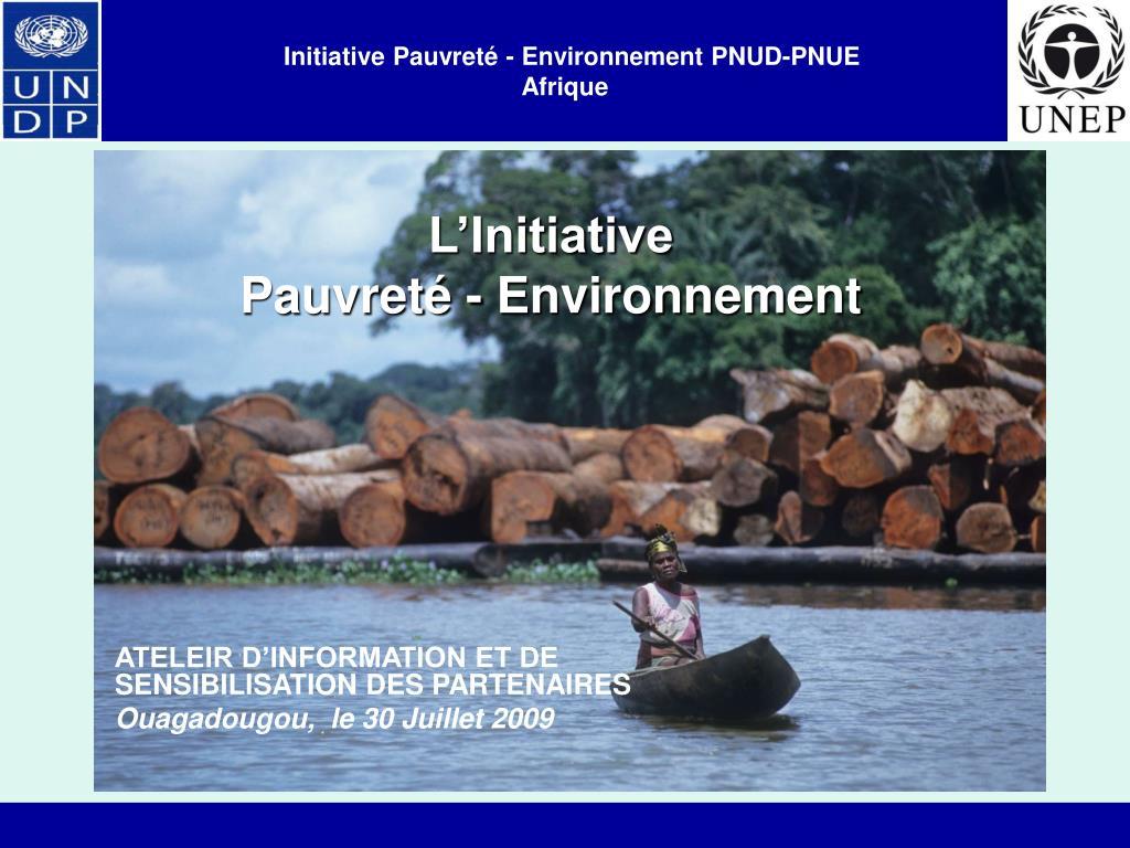 initiative pauvret environnement pnud pnue afrique l.