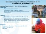 innovative ways to address unmet needs of fp catechists burkina faso