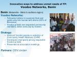 innovative ways to address unmet needs of fp voodoo networks benin