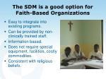 the sdm is a good option for faith based organizations