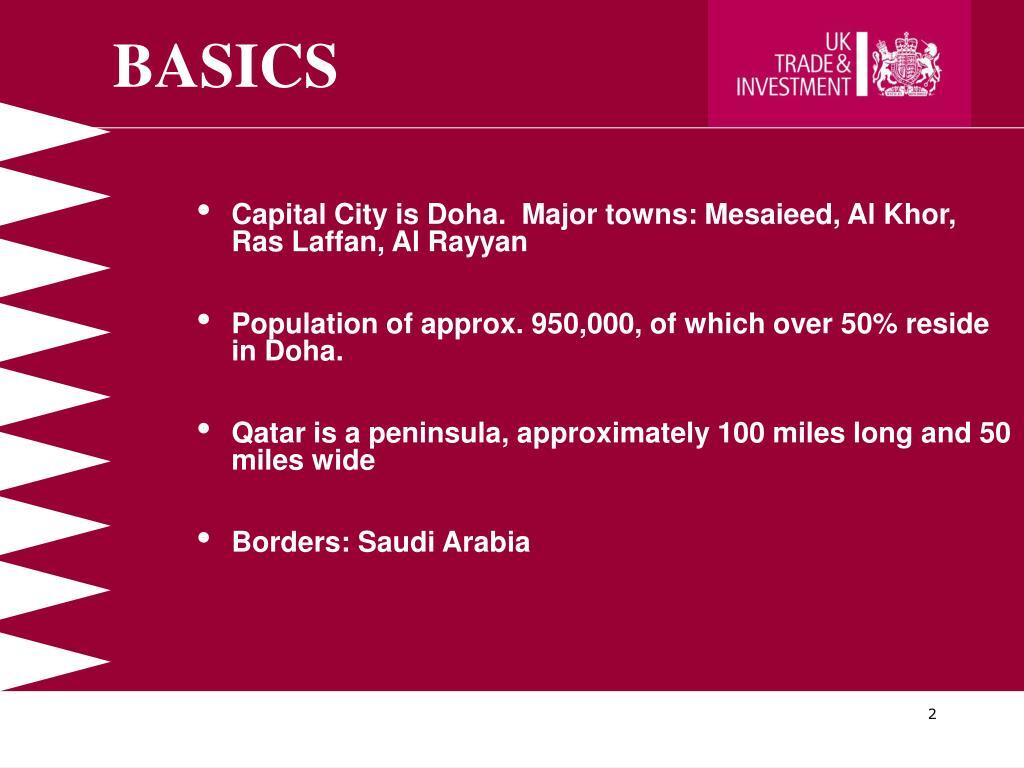 Capital City is Doha.  Major towns: Mesaieed, Al Khor, Ras Laffan, Al Rayyan