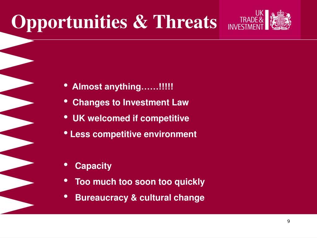 Opportunities & Threats
