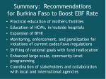 summary recommendations for burkina faso to boost ebf rate