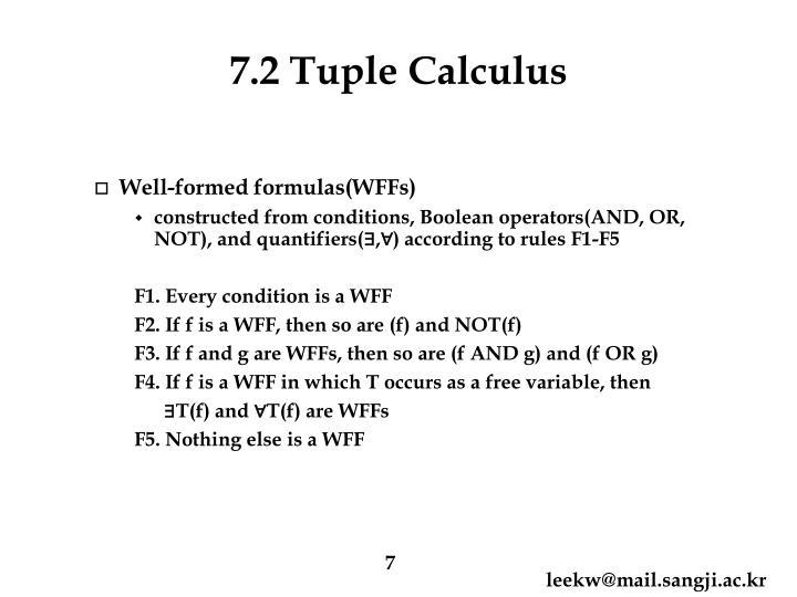 7.2 Tuple Calculus