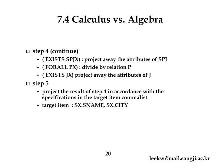 7.4 Calculus vs. Algebra