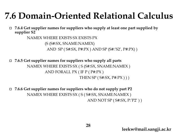 7.6 Domain-Oriented Relational Calculus