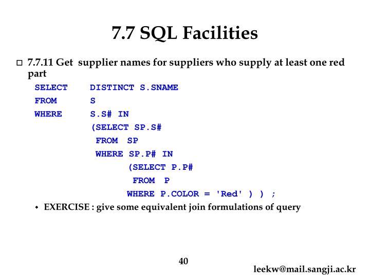 7.7 SQL Facilities