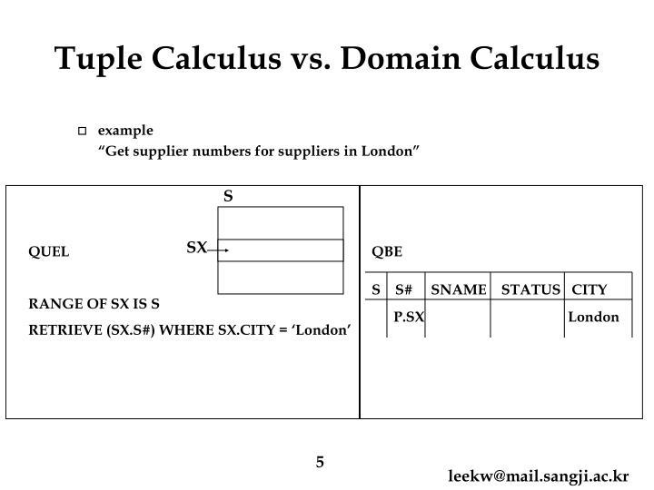 Tuple Calculus vs. Domain Calculus