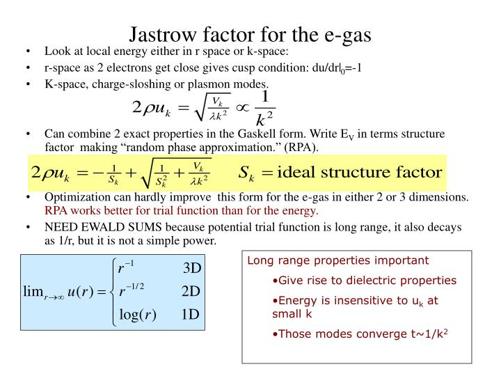 Jastrow factor for the e-gas
