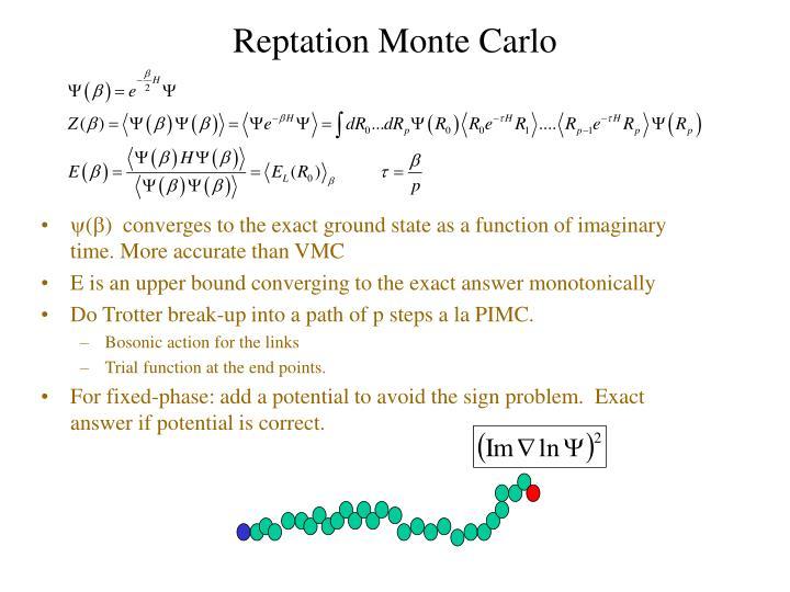 Reptation Monte Carlo