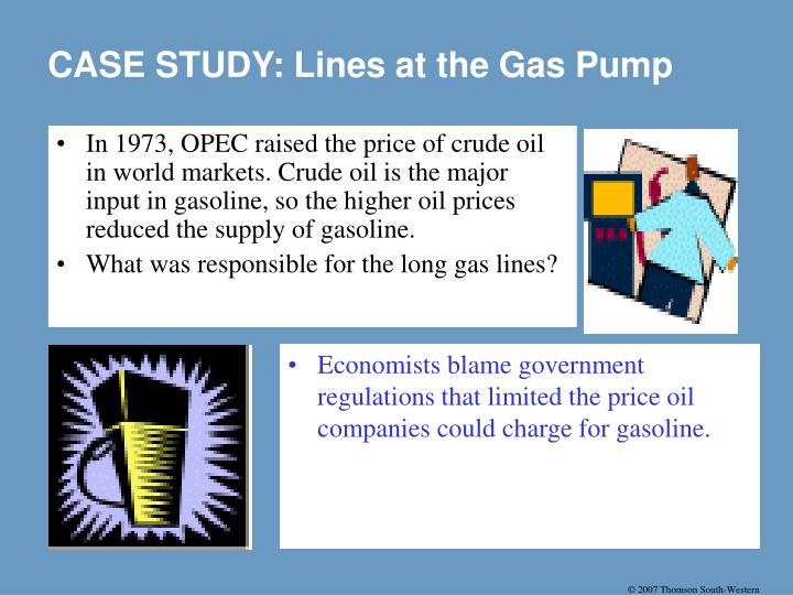 In 1973, OPEC raised the price of crude oil in world markets. Crude oil is the major input in gasoline, so the higher oil prices reduced the supply of gasoline.