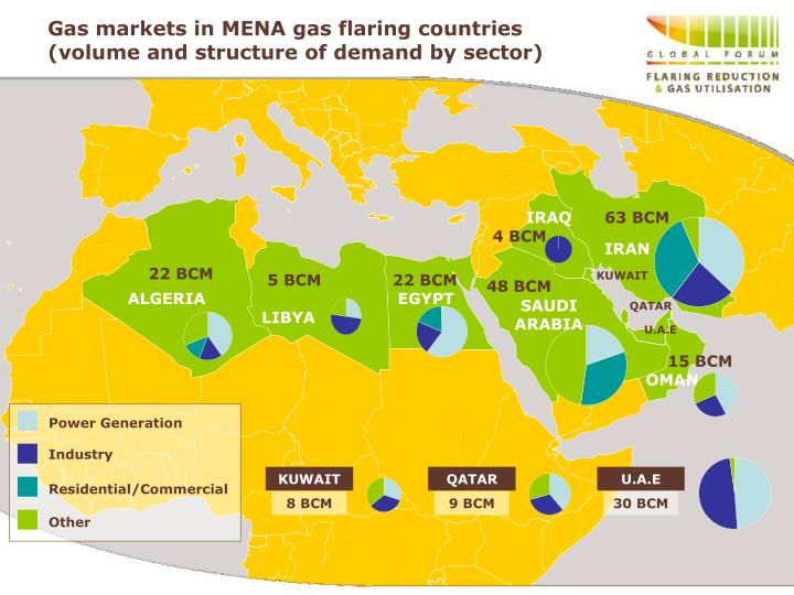 Gas markets in mena gas flaring countries volume and structure of demand by sector