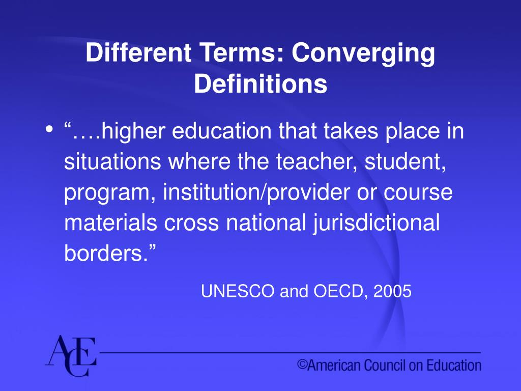 Different Terms: Converging Definitions