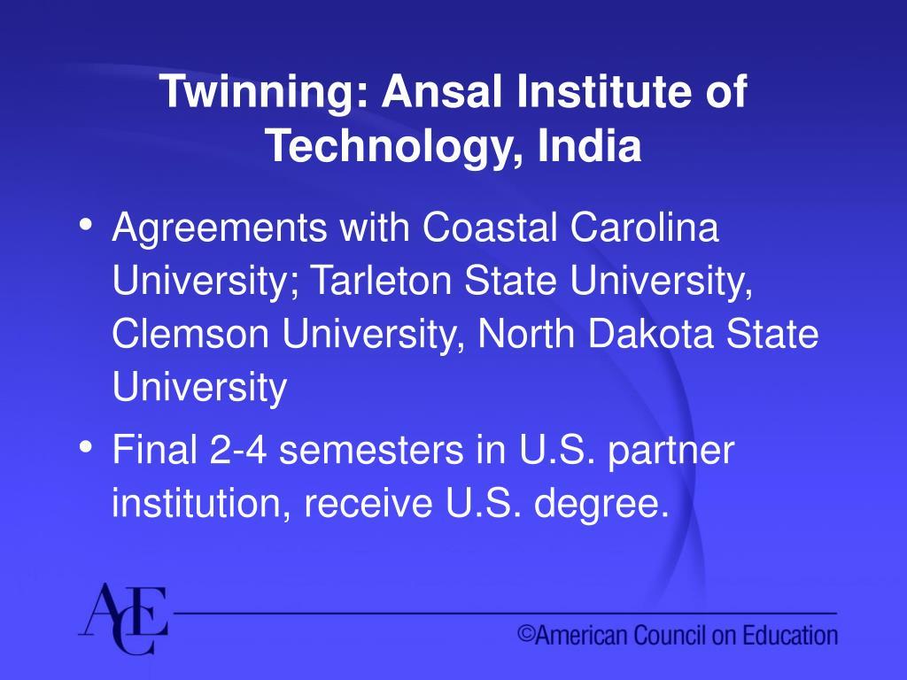 Twinning: Ansal Institute of Technology, India