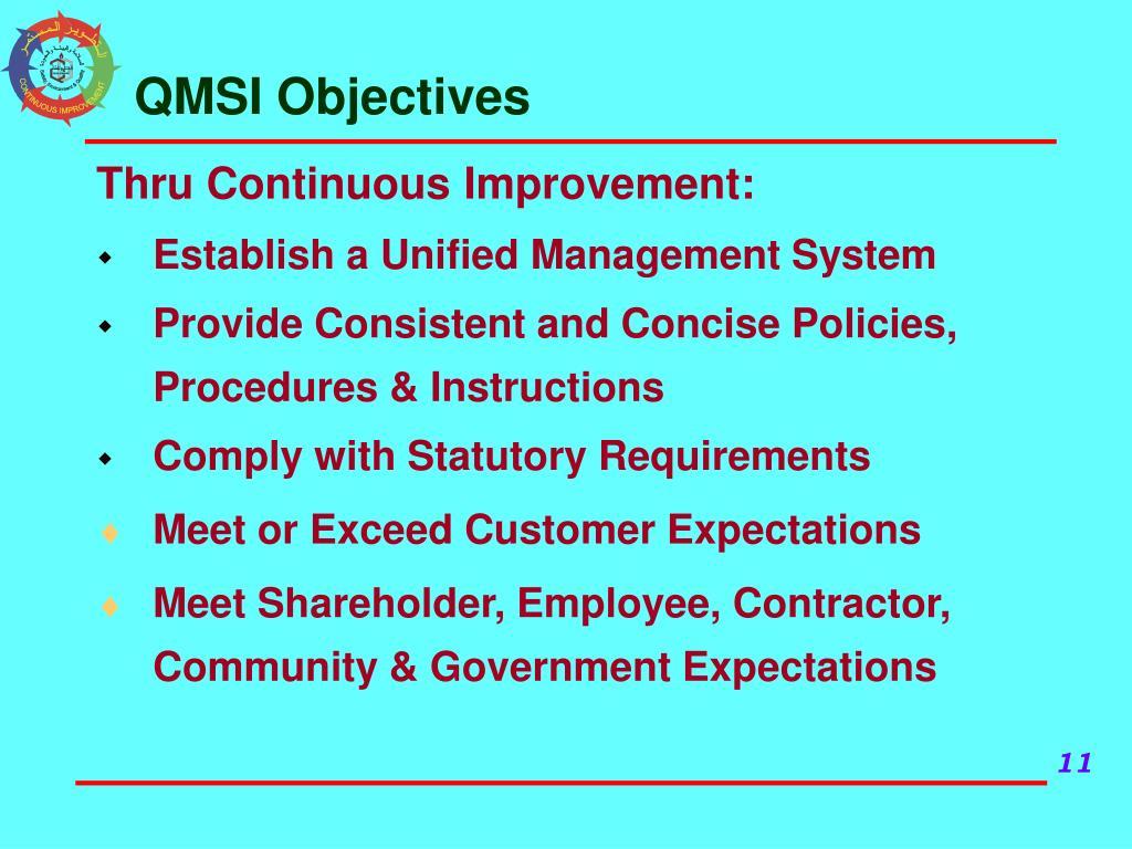 QMSI Objectives