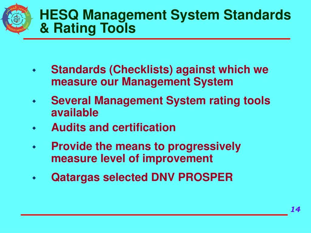 HESQ Management System Standards & Rating Tools