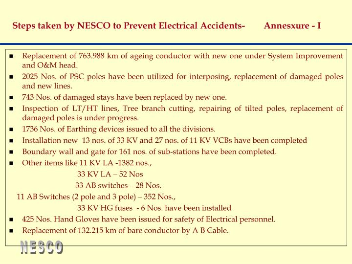 Steps taken by NESCO to Prevent Electrical Accidents-        Annesxure - I