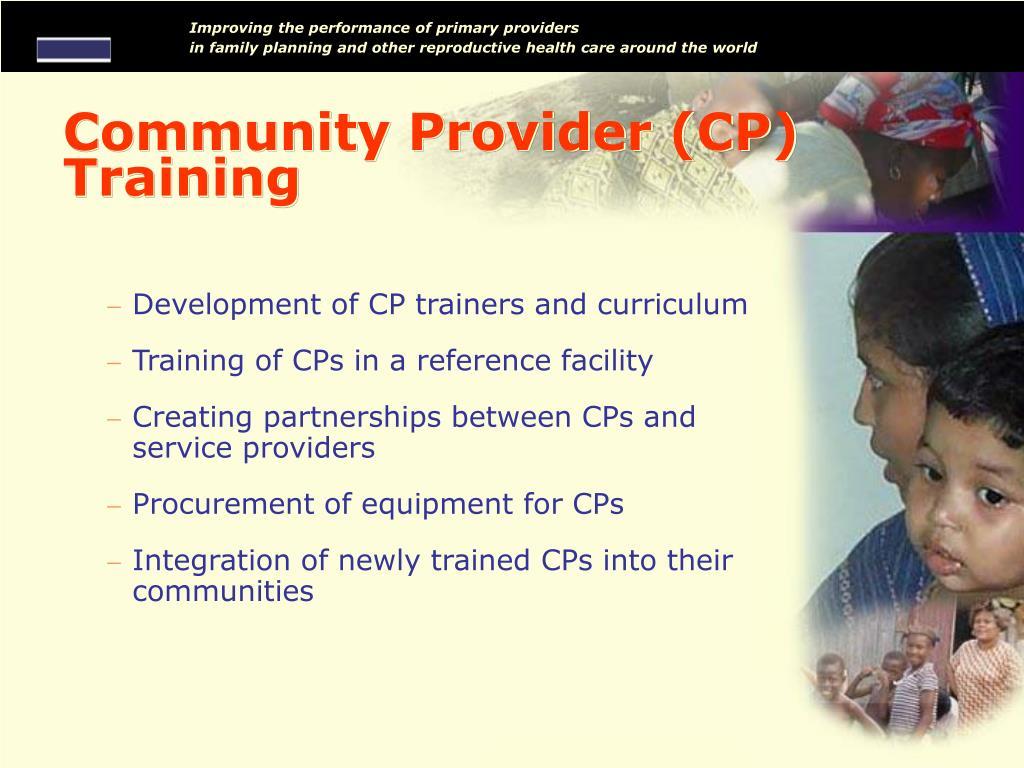 Community Provider (CP) Training