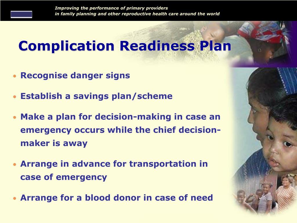 Complication Readiness Plan