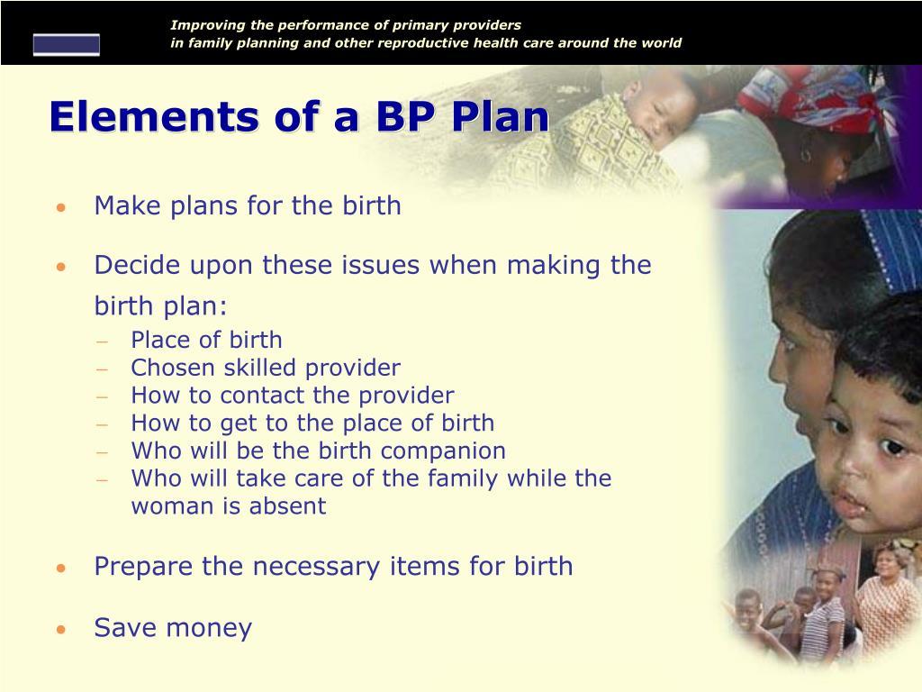 Elements of a BP Plan
