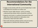 recommendations for the international community