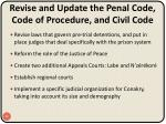 revise and update the penal code code of procedure and civil code