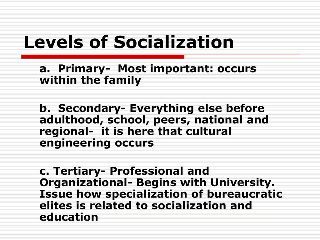Levels of Socialization
