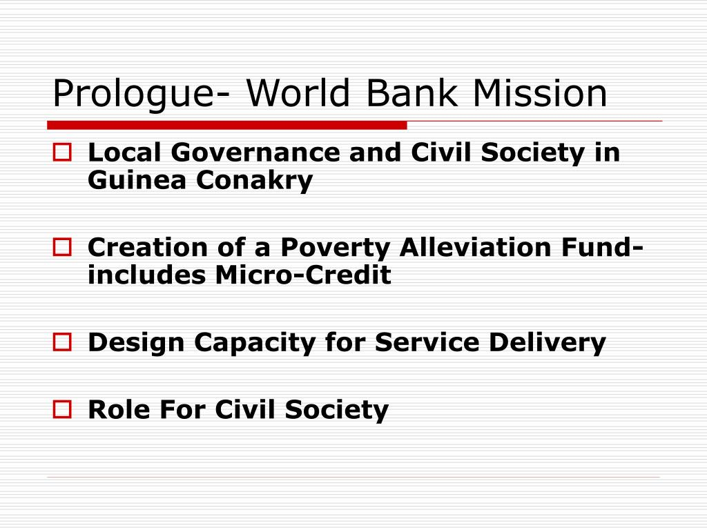 Prologue- World Bank Mission