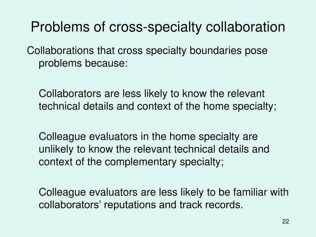 Problems of cross-specialty collaboration