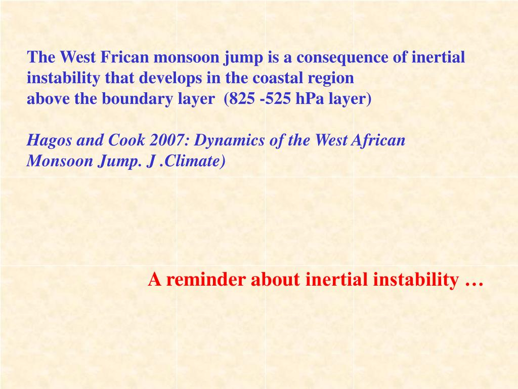 The West Frican monsoon jump is a consequence of inertial